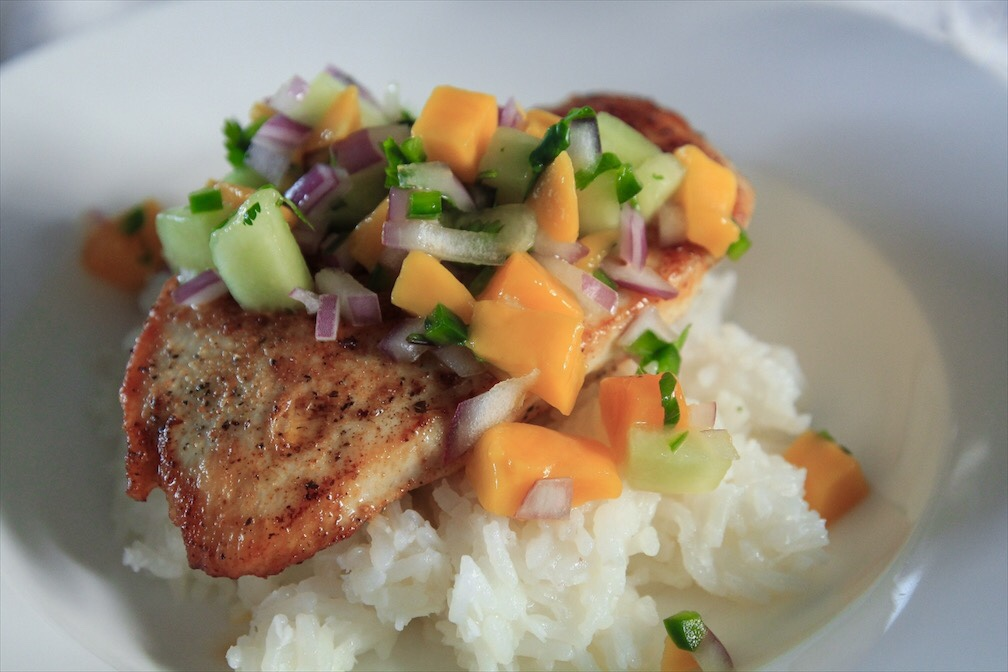 Fruit Salsa Recipe Using Ripe Fruit On Grilled Chicken And Coconut Rice