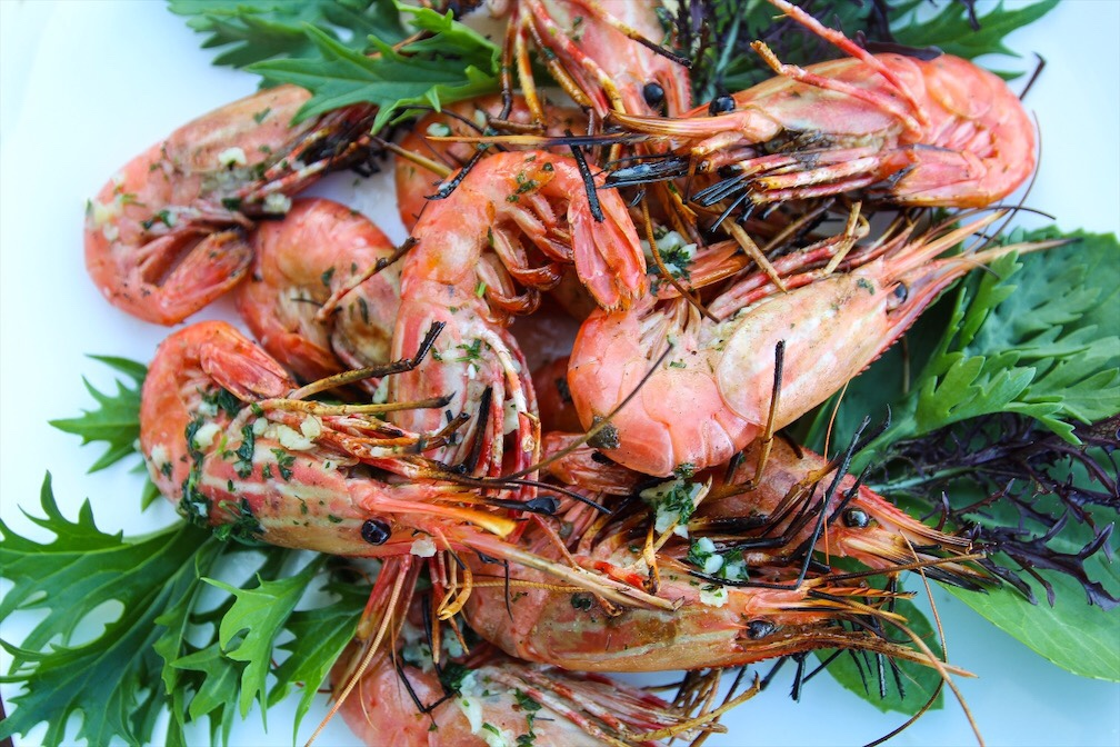 Grilled Peel And Eat Spot Prawns With Garlic Herb Butter