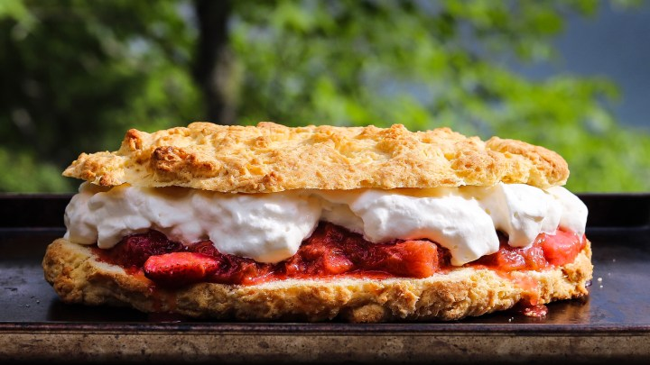 Perfect For Camping Or Potluck, Easy Strawberry Rhubarb Cake Recipe