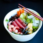 Healthy Chirashi Sushi Bowl With Seafood And Vegetables