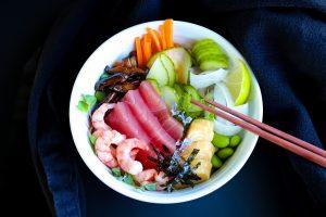 Healthy Vegetables Seafood And Brown Rice Chirashi Sushi Bowl