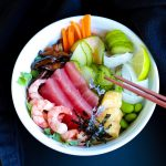 Healthy Vegetables Seafood And Brown Rice Chirashi Sushi Bowl
