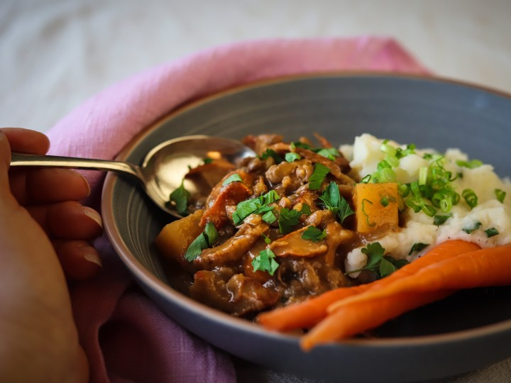 Healthy Hearty and Delicious Mushroom Lentil Stew- A Vegetarian Recipe