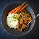 Mushroom Lentil Stew With Mashed Potatoes And Steamed Carrots