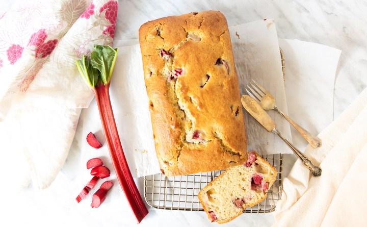 Rhubarb Snack Cake With Yogurt And Olive Oil