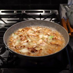 Chicken broth makes a light pasta sauce