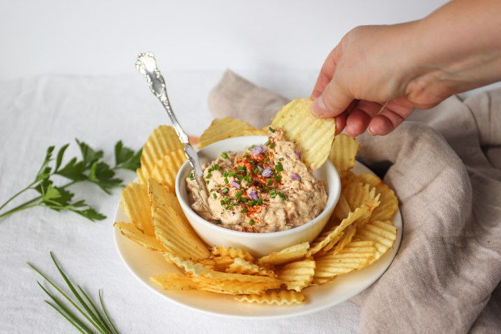 Caramelized Onion Dip with Chips or Veggies