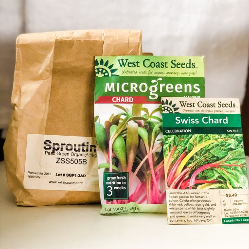 Comparison of seeds in sold for sprouting, microgreens and full size plants.