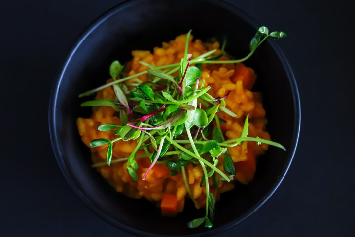 Peas And Carrots With Microgreens