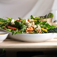 Rocket Pear and Roasted Veg Salad with yams and walnuts