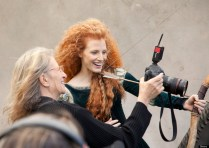 BEHIND THE SCENES WITH JESSICA CHASTAIN AS PRINCESS MERIDA -- In this photo taken September 25, 2013 in Cold Spring, NY, Jessica Chastain poses for acclaimed photographer Annie Leibovitz as Merida, the adventurous princess from 'Brave.' The newest ÔDisney Dream PortraitÕ was commissioned by Disney Parks for their ongoing celebrity advertising campaign which debuted in 2007. The Leibovitz image, which will appear in the February issue of 'O - The Oprah Magazine,' is entitled, 'Where your destiny awaits.' (Scott Brinegar/DisneyParks.com)