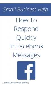 How To Respond Quickly In Facebook Messages