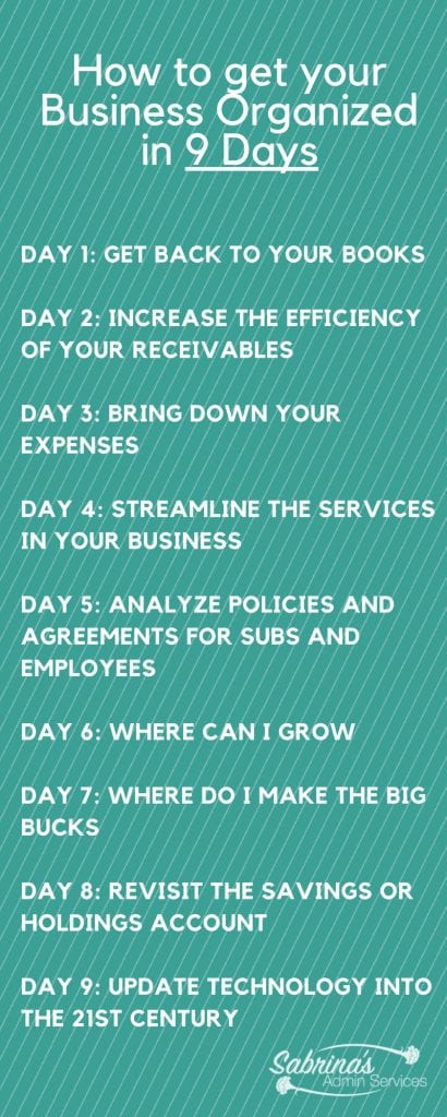 How to get your business organized in 9 Days