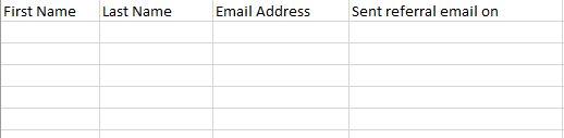 spreadsheet for referrals