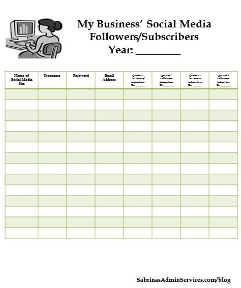 tracking followers and subscribers sheet