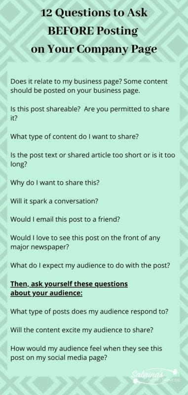 12 Questions to Ask BEFORE Posting  on Your Company Page