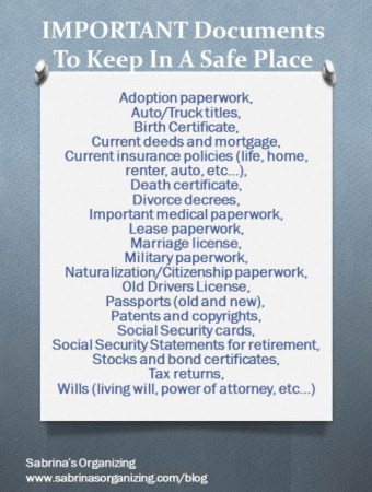 IMPORTANT Documents To Keep In A Safe Place infographic