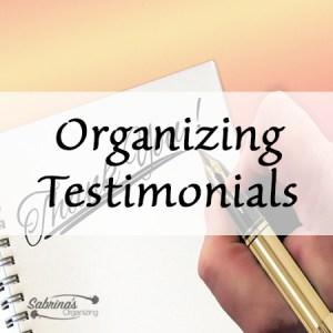 Sabrina's Organizing Testimonials