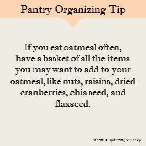 use a basket to store items for oatmeal breakfasts