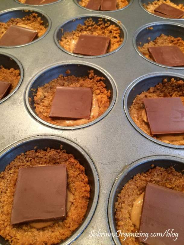 add the chocolate to the top of the peanut butter