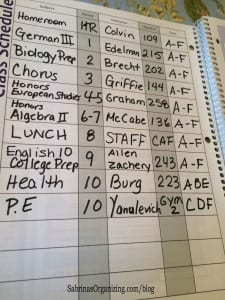 Fill out the schedule in your planner