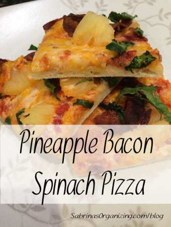 Pineapple bacon spinach pizza