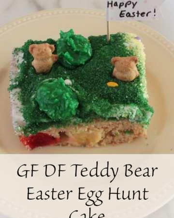 GF DF Teddy Bear Easter Egg Hunt Cake Recipe