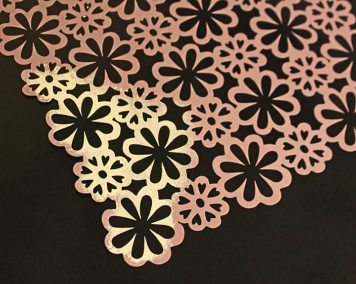 Flower scrapbook stencil for box