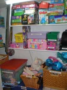 Closet playroom organization by Sabrina's Organizing