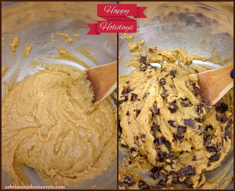A side by side collage of homemade soft and chewy Paleo chocolate chip cookie batter with and without chocolate chips