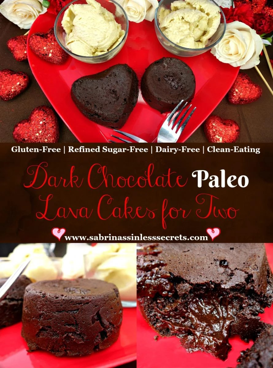 Dark Chocolate Paleo Lave Cake for Two that are also Gluten-Free, Refined Sugar-Free, Dairy-Free, and Clean-Eating