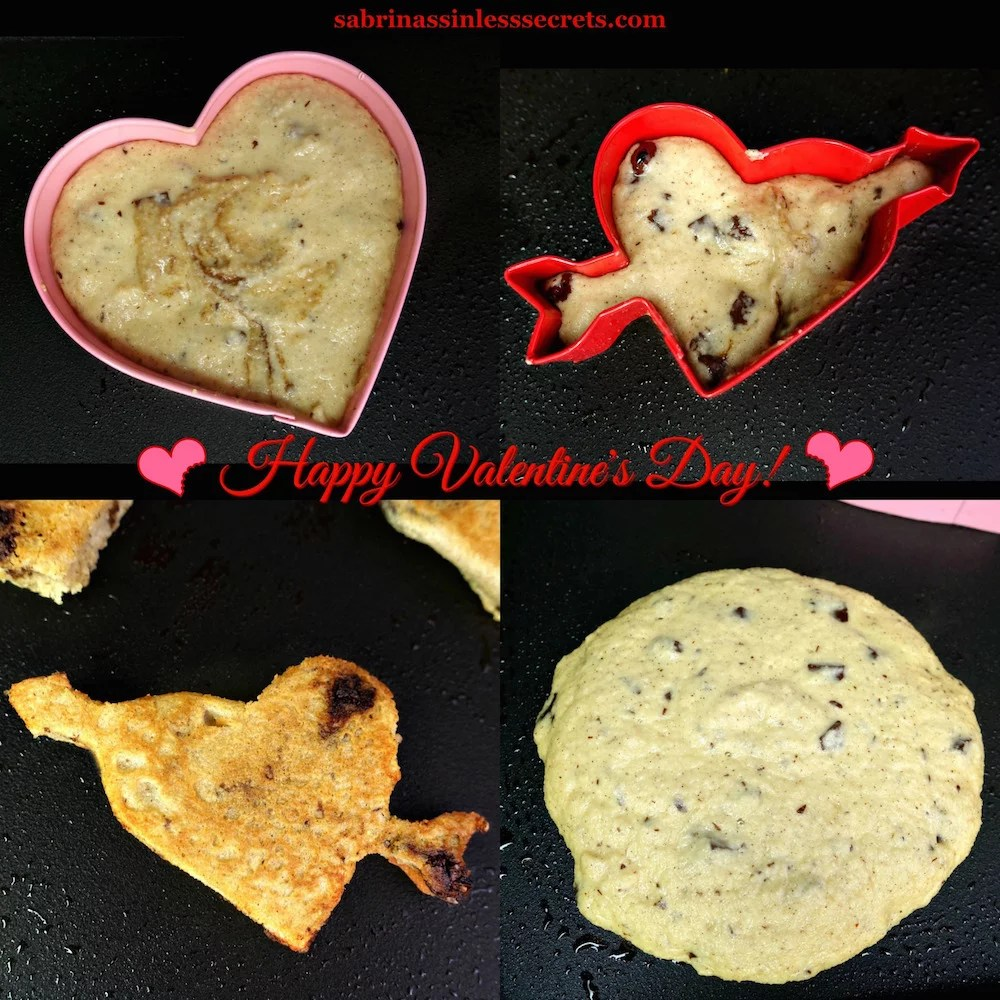 A collage of Paleo Dark Chocolate Chip Pancakes cooking on a black griddle, one regular shaped, while the others are heart-shaped