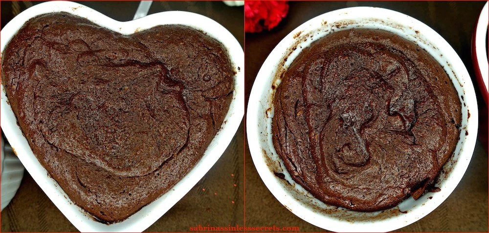 Dark Chocolate Paleo Lava Cakes for Two fresh out of the oven in a 6 oz. round ramekin and a 6 oz. heart-shaped ramekin