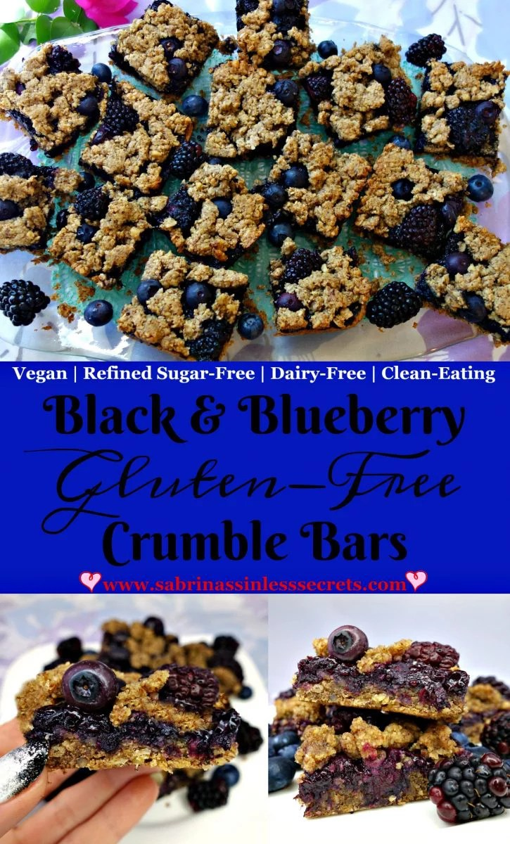 Black & Blueberry Gluten-Free Crumble Bars that are also vegan, refined sugar-free, dairy-free, clean-eating, healthy, and easy to make!
