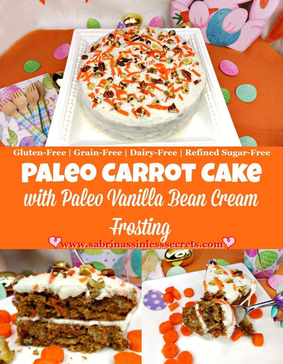 This Paleo Carrot Cake with Paleo Vanilla Bean Cream Frosting is the perfect Easter dessert! Its spongy and moist texture and bits of golden raisins, fresh pineapple, coconut flakes, walnuts, and pecans will send your taste buds into nirvana. The addition of Paleo Vanilla Bean Cream Frosting just puts it over the top. Although this carrot cake is Paleo, gluten-free, grain-free, refined sugar-free, dairy-free, and only has two tablespoons of oil it's super delicious! Long story short, this cake does NOT taste healthy! It's delicious spiced flavor and cherished consistency will please anyone.