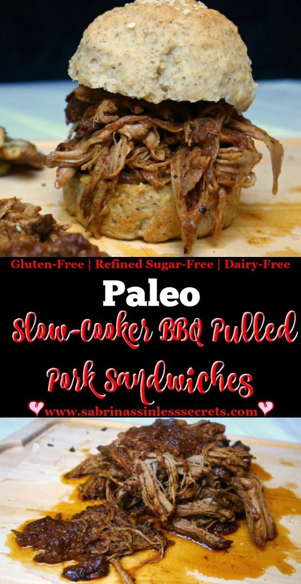 Paleo Slow-Cooker BBQ Pulled Pork Sandwiches that are also gluten-free, dairy-free, and refined sugar-free