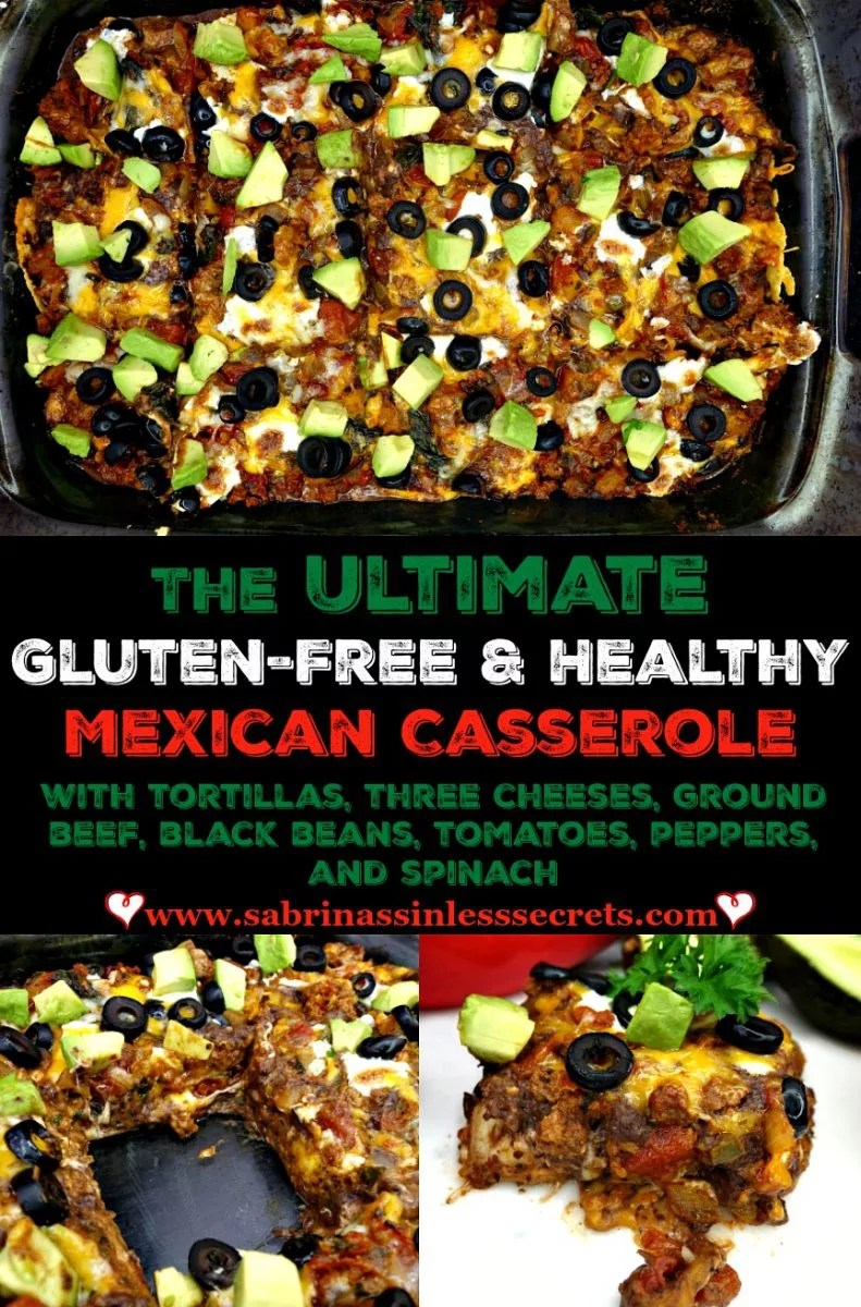 "This double layer Ultimate Gluten-Free Healthy Mexican Casserole is oozing with Mexican goodness! This casserole is layered with homemade Paleo tortillas and packed with three melty cheeses, ""refried"" black beans, grass-fed ground beef, tomatoes, onions, peppers, and SPINACH! Or kale if you prefer! Did I forget to mention that it's completely sinless and delicious?"