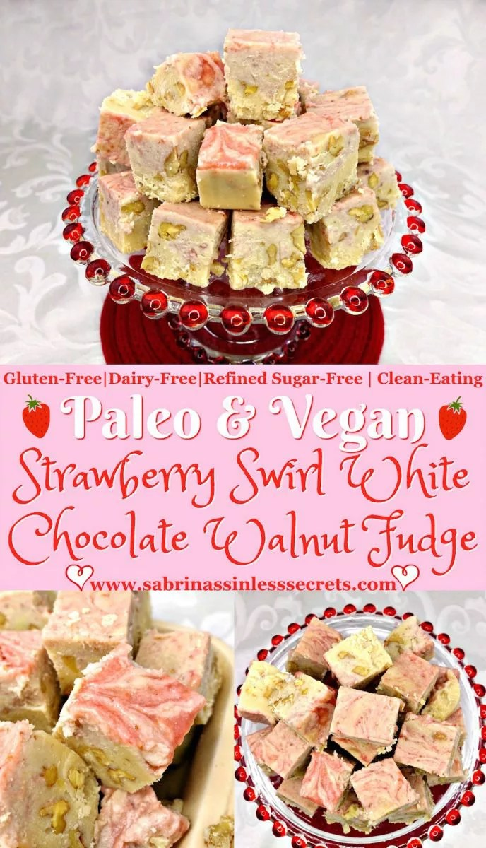 This Paleo and Vegan Strawberry Swirl White Chocolate Walnut Fudge are bite-sized treats of pure heaven! It's thick, creamy, and fudgy just look fudge should be! The touch of fresh strawberry heightens each bite of this Paleo homemade white chocolate fudge, while the crunch of the walnuts adds an addictive texture. The best thing about this Paleo and Vegan Strawberry Swirl White Chocolate Walnut Fudge is that it can still be insanely yummy and be refined sugar-free, diary-free, gluten-free, and clean-eating!