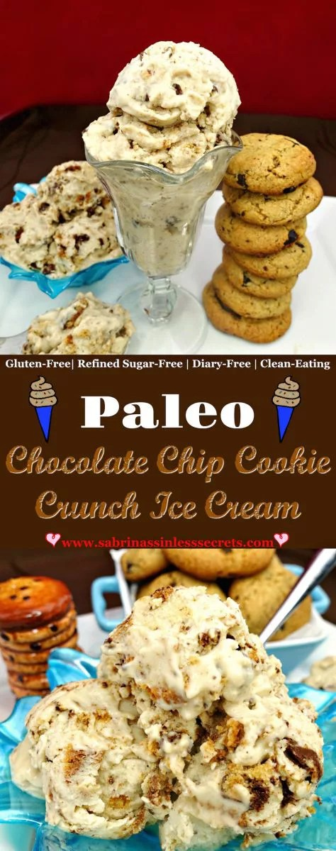 This Chocolate Chip Cookie Crunch Paleo Ice Cream is creamy, sweet, and oh so chocolate chip cookie crumble good! On top of being incredibly easy to prepare (no churn option!), this delicious ice cream is sinless, Paleo, gluten-free, dairy-free (with a vegan option), and refined sugar-free!