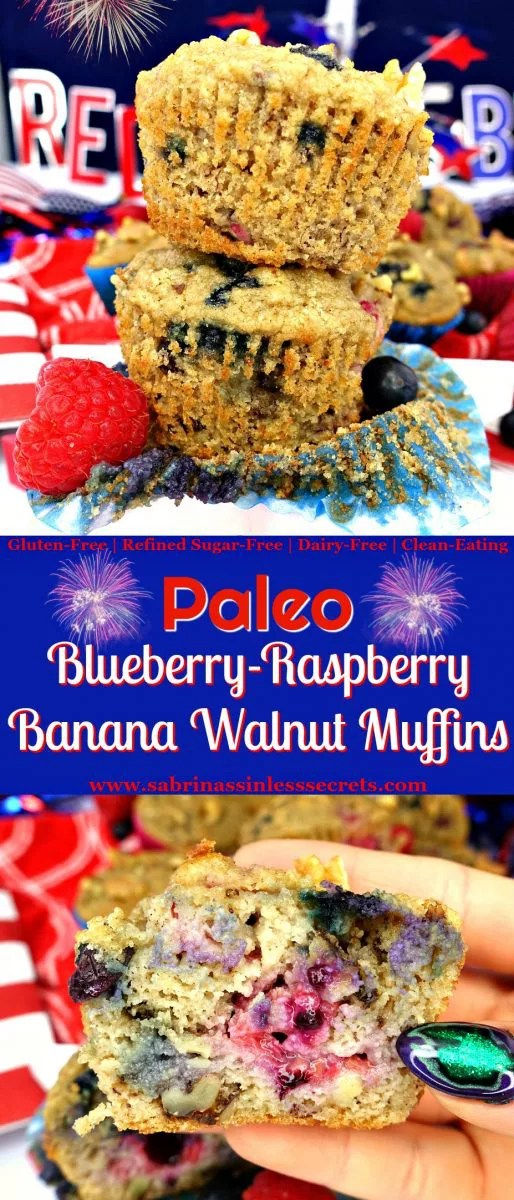 These Paleo Blueberry-Raspberry Banana Walnut Muffins are a total combination of muffin perfection! They're fluffy, soft, moist, and delightfully sweet. Besides being easy to make, they're completely sinless, gluten-free, refined sugar-free, dairy-free, and only contain ONE tablespoon of oil!