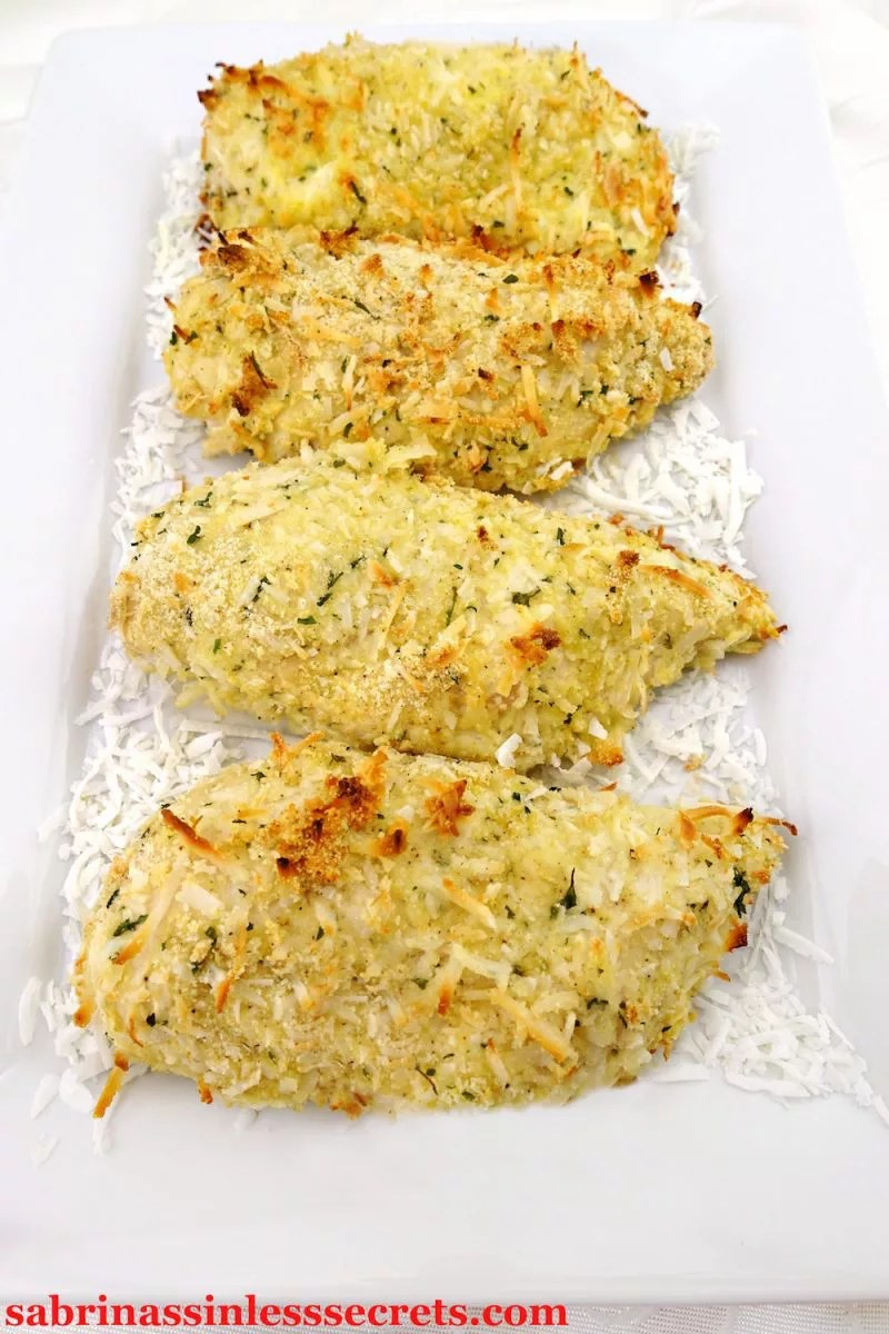 Lightly breaded sinless Paleo Coconut Chicken Breasts are a tasty way to mix up lunch or dinner! They're quick and easy to make and, the best thing is, you won't miss the all-purpose flour in these delicious gluten-free, dairy-free, and clean-eating Paleo Coconut Chicken Breasts!