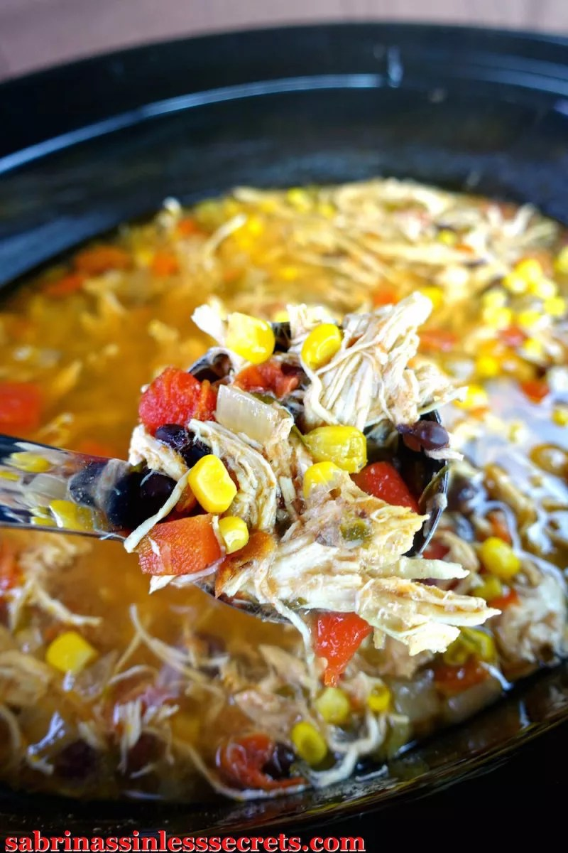 closeup of gluten free chicken tortilla soup finished recipe
