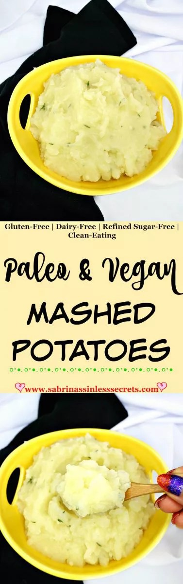 These Paleo & Vegan Mashed Potatoes are just as good, if not better, than traditional mashed potatoes! They're creamy and flavorful, making it hard to believe they're dairy-free and clean-eating! Now you can eat all the mashed potatoes you want without the unhealthy calories!