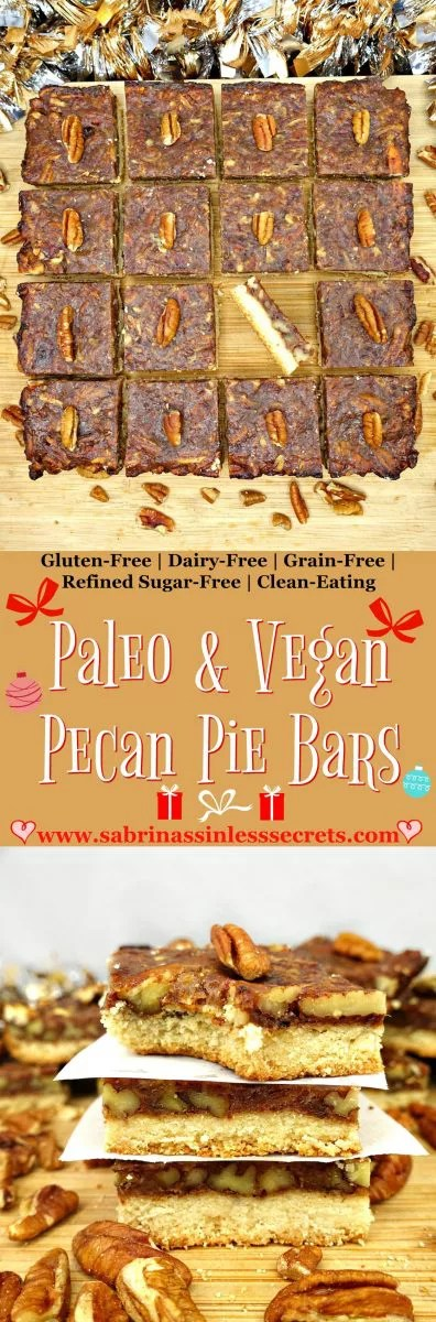 "These Paleo and Vegan Pecan Pie Bars are sweet, sticky, and full of toasted pecan goodness! They're made with a simple date caramel overlaying a shortbread crust! These will ""wow"" even the pickiest of eaters and leave you craving more, especially when you find out they're completely sinless—made with Paleo, gluten-free, grain-free, vegan, dairy-free, refined sugar-free, and clean-eating ingredients!"