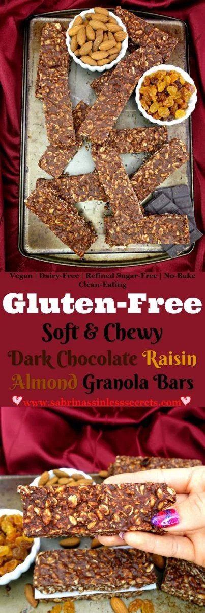 These Gluten-Free Dark Chocolate Raisin Almond Granola Bars give a soft and chewy bite, with morsels of golden raisins, chopped almonds, oats, and brown rice crispy cereal. Your tongue will crave the smooth, rich dark chocolate as it melts in your mouth, treating this sinless snack like a sinful candy bar! They're gluten-free, vegan, dairy-free, refined sugar-free, clean-eating, and no-bake!