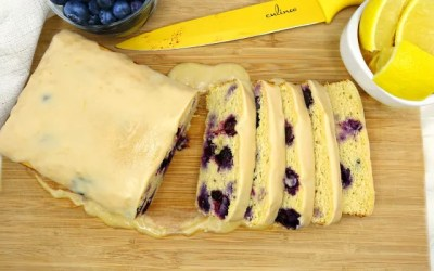 Lemon Blueberry Paleo Pound Cake with Lemon Icing