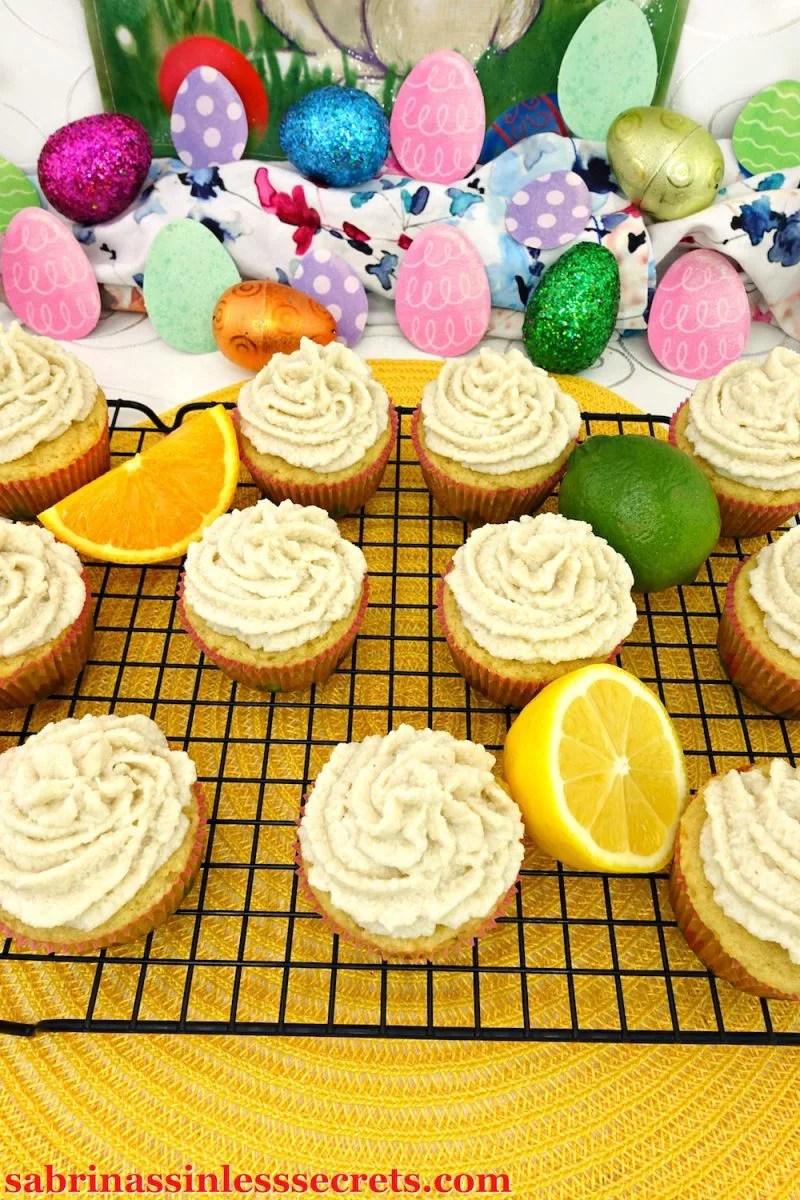 Lemon, lime, and orange fuse together to invent these Triple Citrus Paleo Cupcakes with Coconut Citrus Frosting. These cupcakes are moist, airy, fluffy and popping with citrus in every bite! The thick and creamy coconut citrus frosting amplifies the citrus and sweetness! These tasty cupcakes will fool everyone that they're Paleo, gluten-free, dairy-free, refined sugar-free, and clean-eating!