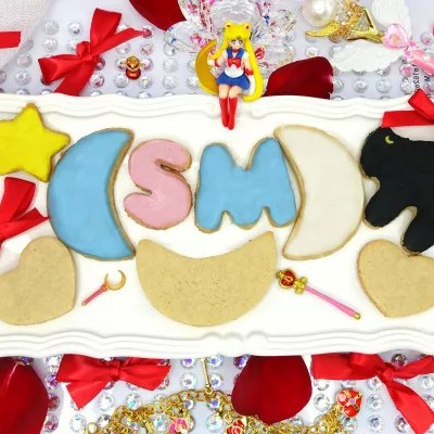 Paleo and Vegan Sailor Moon Sugar Cookies with Naturally Dyed Icing