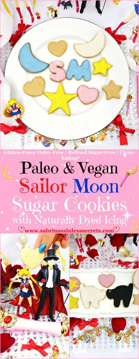 In order of Sailor Moon's birthday, these Paleo and Vegan Sailor Moon Sugar Cookies with Naturally Dyed Icing were called into action! They need ZERO chill time and are so easy to make! Although these sugar cookies taste like they're full of sugar they're totally refined sugar-free, Paleo, gluten-free, dairy-free, egg-free, grain-free, clean-eating, and so SO good!