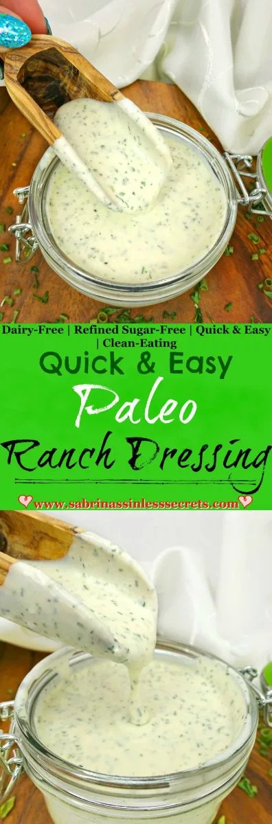 Getting on the clean-eating lifestyle bandwagon doesn't mean you have to give up the things you love. Instead of erasing ranch from your life forever, one of the most favored condiments, you can swap it for an even TASTIER version, like this Quick and Easy Paleo Ranch Dressing! It's Paleo, gluten-free, dairy-free, refined sugar-free, preservative-free, non-GMO, and clean-eating!